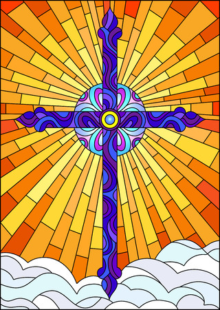 Illustration in stained glass style with blue bright cross on a background of orange sky and clouds
