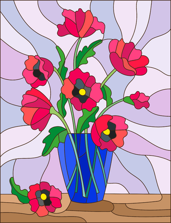 Illustration in stained glass style with bouquets of pink poppies flowers in a blue vase on table on light background