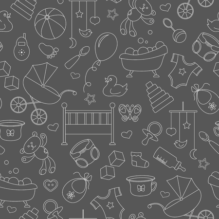Seamless pattern on the theme of childhood and newborn babies, baby accessories and toys, simple contour icons, white contour on black background.
