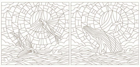 fish tail: Set contour illustrations of stained glass with flying fish and whale on the sea background ,cloud, sky and sun.