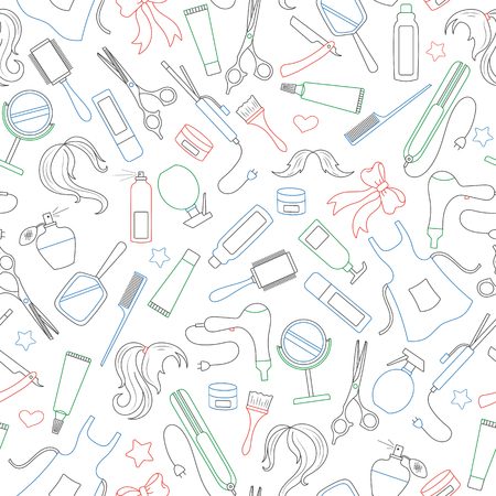 Seamless pattern on the theme of the Barber shop, the tools and accessories of the hairdresser,simple contour icons are drawn with colored markers on white background. Illustration