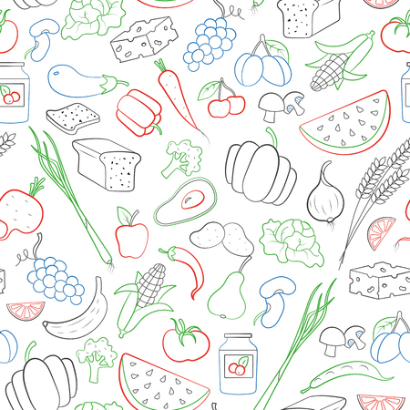 Seamless pattern on the theme of vegetarianism, grocery icons, simple contour icons are drawn with colored markers on white background. 矢量图像