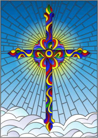 Illustration in stained glass style with bright cross on a background of blue sky and clouds. Illustration