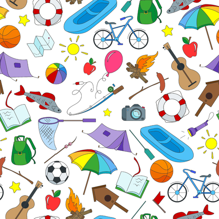 Seamless pattern on the theme of summer camp, and vacation simple icons on white background.