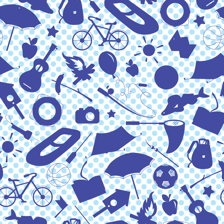 beach party: Seamless pattern on the theme of summer camp and vacations, blue silhouettes of icons , black contour on white background polka dot.