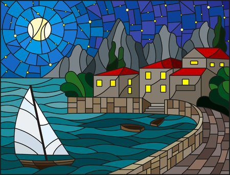 The illustration in stained glass style painting with a sailboat on the background of the Bay with city, sea and starry  sky and moon.