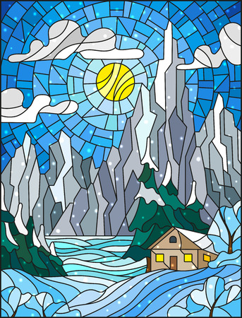 Illustration in stained glass style with a lonely house on a background of snowy  pine forests, lake, mountains and day-Sunny sky with clouds,winter landscape Illustration