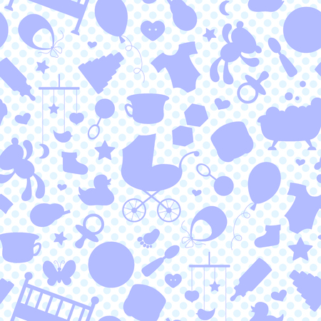 endlessly: Seamless pattern on the theme of childhood and newborn babies, baby accessories, accessories and toys, the outlines of objects pink icons on a white background with blue polka dots
