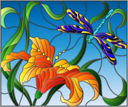 Illustration en style vitrail avec une libellule brillante contre le ciel, le feuillage et la fleur de Lily