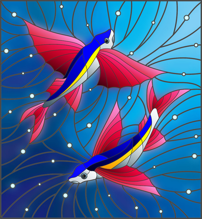 Illustration in the style of stained glass with two flying fishes manta rays on the background of water and air bubbles