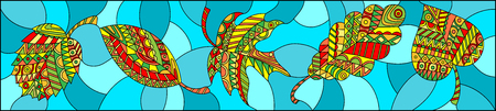 Illustration in stained glass style with patterned autumn leaves on turquoise background , horizontal orientation Illustration