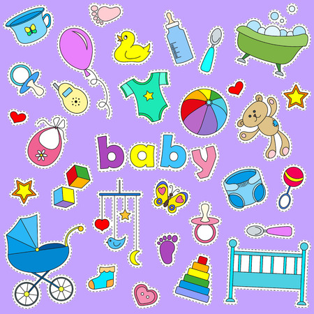 Icons set of patches on the topic of childhood and newborn , signs on a purple background