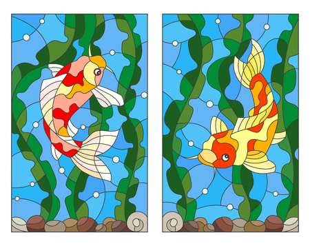 A set of stained-glass illustrations with koi carp fish on the background of water, algae and air bubbles