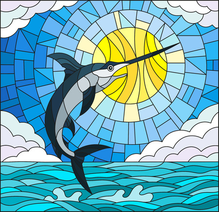 Illustration in stained glass style with a fish swordfish on the background of water ,cloud, sky and sun