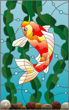 fish tail: Illustration in stained glass style with a  fish carp  on the background of water and algae