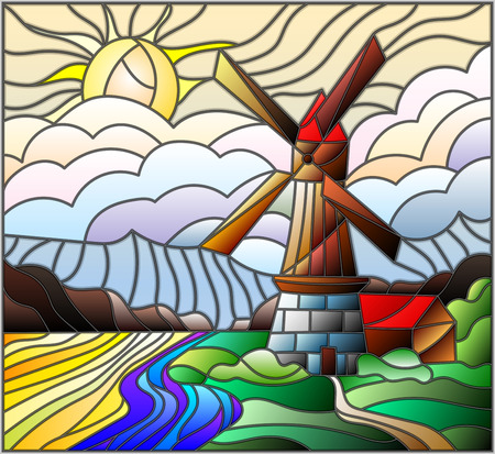 The image in the stained glass style landscape with a  windmill on a background of sky and sun Ilustração