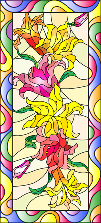 Illustration in stained glass style with flowers, buds and leaves of Lily,vertical orientation Illustration