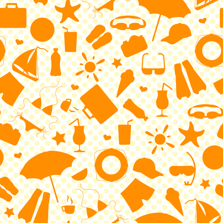 Seamless pattern on the theme of summer holidays in hot countries, the orange outlines of the icons on the background polka dot