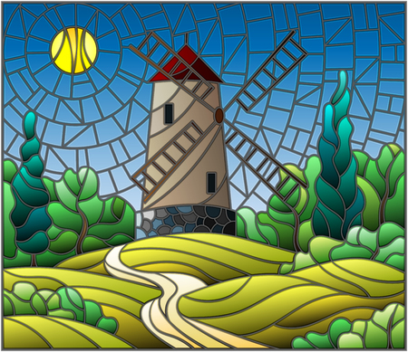 The image in the stained glass style landscape with a  windmill on a background of sky and sun Banco de Imagens - 78020936
