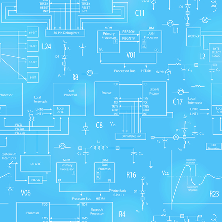 Seamless background with elements of electronic circuits, in the style of technical documentation, the bright outline on a blue  background Illustration