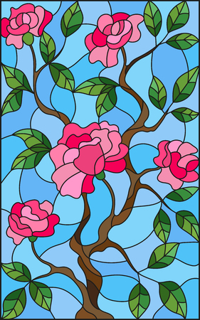 orange roses: Illustration in stained glass style flower of pink rose on a blue background