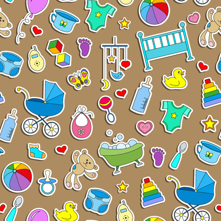 Seamless pattern on the theme of childhood and newborn babies, baby accessories and toys, simple color stickers icons on brown  background