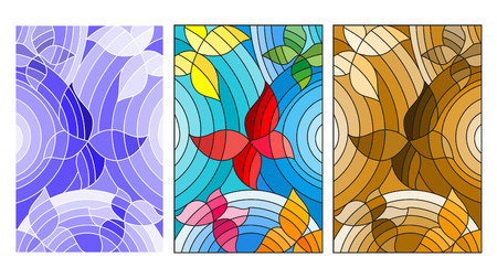 The illustrations in the stained glass style with abstract butterflies, coloured, blue and brown version