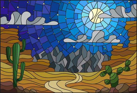 wasteland: The illustration in stained glass style painting with desert landscape, cactus in a lbackground of dunes, starry sky and moon