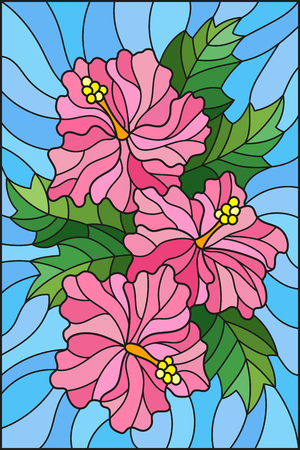 Illustration in stained glass style with flowers and leaves  of hibiscus on a blue background Illustration