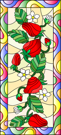 substrate: Illustration in stained glass style with flowers, berries and leaves of strawberry in a bright frame,vertical orientation Illustration