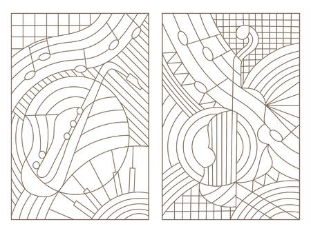 스테인드 글라스의 윤곽선 삽화를 설정 음악의 주제에 윈도우 추상 바이올린과 색소폰