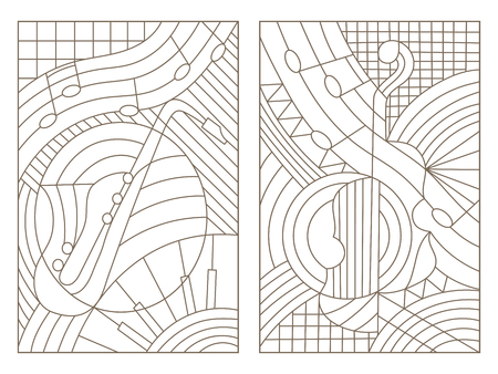 Set contour illustrations of the stained glass Windows on the theme of music abstract violin and saxophone