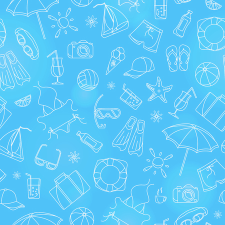 Seamless pattern on the theme of summer holidays in hot countries, simple white contour icons on a blue background