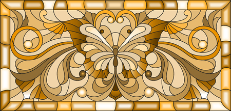Illustration in stained glass style with  butterfly and floral ornament , brown tone, sepia Illustration