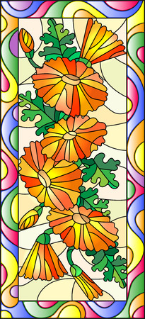 calendula: Illustration in stained glass style with flowers, buds and leaves of calendula,vertical orientation Illustration