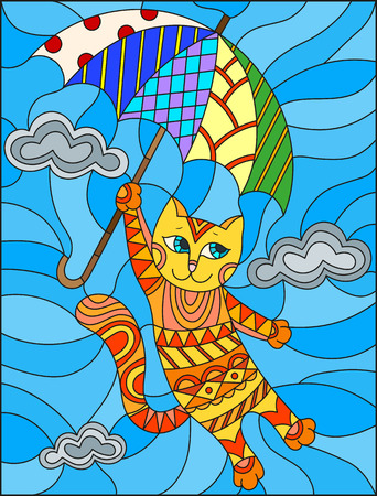 Illustration in stained glass style with funny red cat flying on the umbrella on the background of sky and clouds