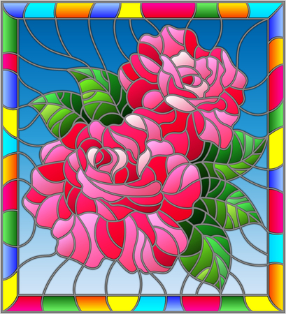 Illustration in stained glass style with flowers and leaves of  rose on blue background in a bright a frame Illustration