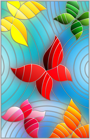 illustration in the style of stained glass with the colorful abstract butterflies on a blue background