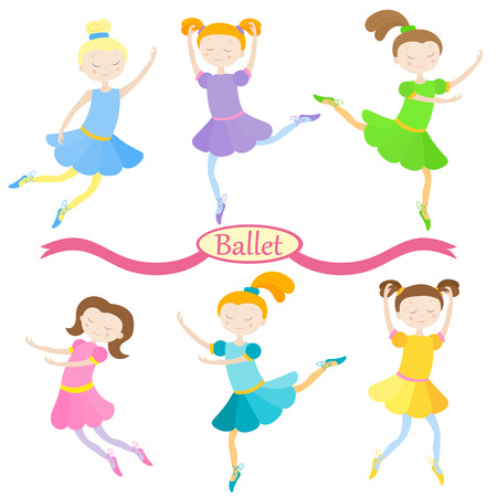 Set of cute cartoon girls of ballet dancers in different poses