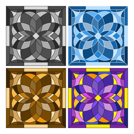 Impostare l'illustrazione quadrata geometrica nello stile di vetro colorato in diversi colori Vettoriali