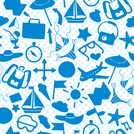 beach party: Seamless pattern on the theme of summer holidays in hot countries, the blue outlines of the icons on the background polka dot