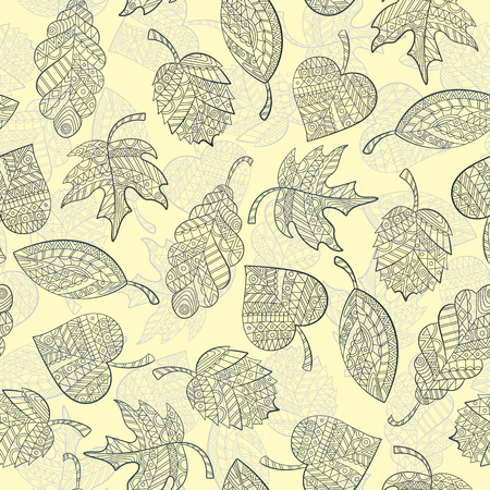 circling: Seamless pattern with autumn leaves painted against a light background