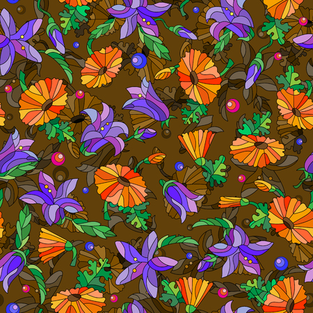 Seamless background with spring flowers in stained glass style, flowers, buds and leaves of pansies and lilies on a abstract brown background Illustration