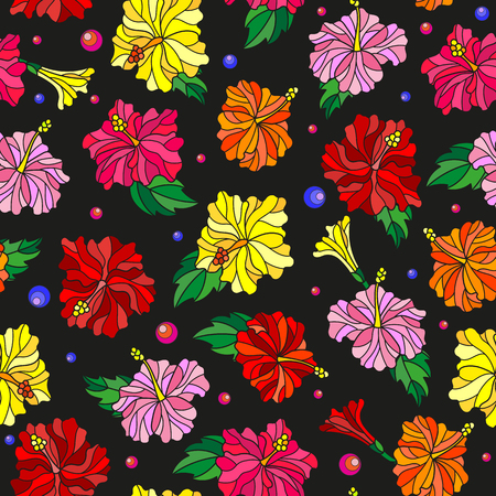 Seamless pattern with spring flowers in stained glass style, flowers, buds and leaves of  hibiscus on a dark background
