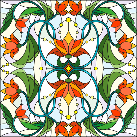 Illustration in stained glass style with abstract  swirls,flowers and leaves  on a light background Ilustração