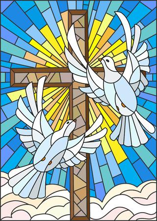 Illustration avec une croix et une paire de colombes blanches dans le style de vitrail Vecteurs