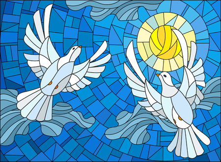 Illustration in stained glass style with a pair of white doves on the background of the daytime sky and clouds Illustration