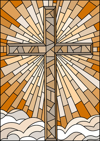 stained glass church: Illustration in stained glass style with the Christian cross on a background of sky and clouds , brown tone, Sepia Illustration