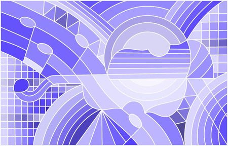 Illustration in stained glass style on the subject of music , the shape of an abstract violin on geometric background, blue tone Illustration