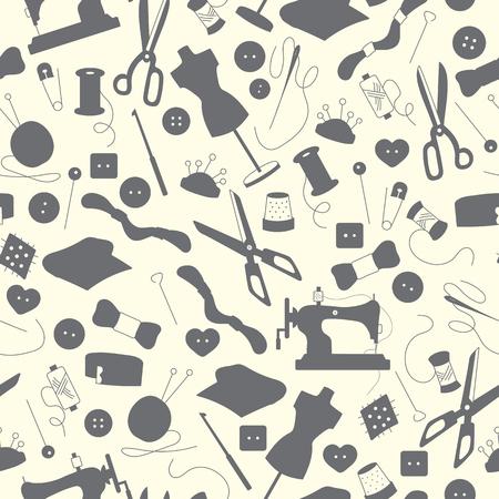 Nahtlose Muster Auf Das Thema Handarbeiten Und Nähen, Einfache ...